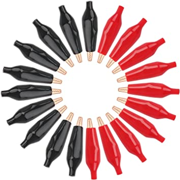 20 Pcs Black Red Alligator Clips Crocodile Test Clamp 35mm With Protective Cover
