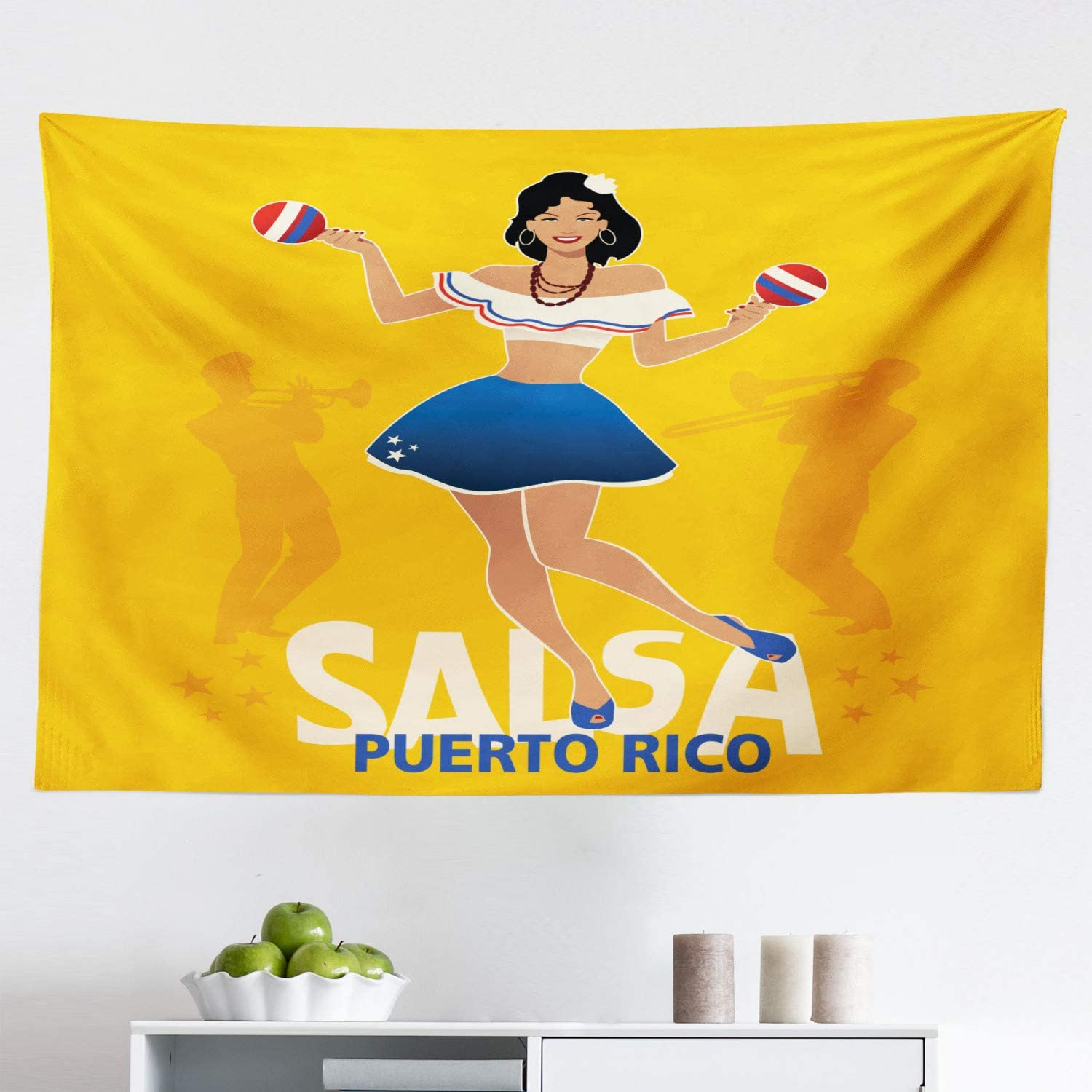 """Lunarable Puerto Rico Tapestry, Salsa Dancing Girl with Maracas Trombonist and Trumpeter Silhouette on Backdrop, Fabric Wall Hanging Decor for Bedroom Living Room Dorm, 45"""" X 30"""", Marigold"""