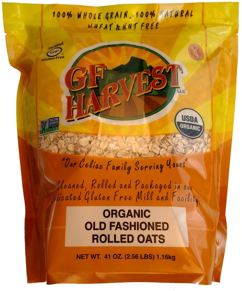 GF Harvest Gluten Free Certified Organic Rolled Oats, Non GMO, 41oz Bag