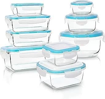 KICHLY - Ensemble de récipients hermétiques en plastique pour le stockage des aliments - 18 pièces (9 récipients + 9 transparents couvercles) - Convient pour le micro-ondes et la congélation, Sans BPA
