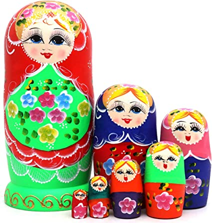 5pcs Cute and Funny Wooden Fairy Stacking toys//Russian nesting dolls//Matryosh...