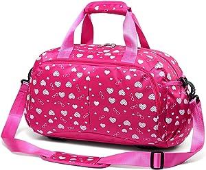 Girls Gym Sport Duffle Bag for Little Kids Teens Women Overnight Weekend Short Trip Travel Duffel Bag for School Carryon Luggage Storage Carrying Carryall Kindergarten Teenage Teenagers (Hot Pink)