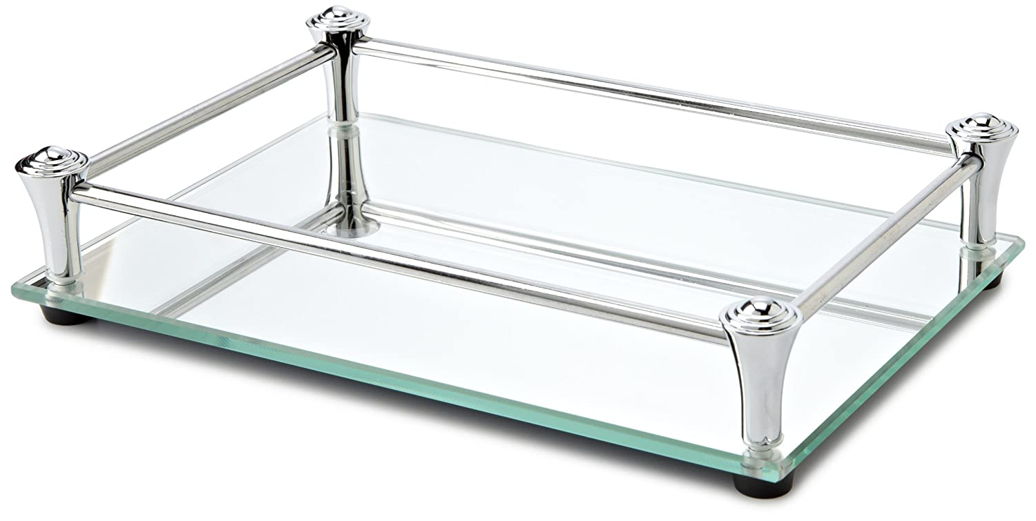 Amazon Taymor Square Vanity Mirror Tray With Chrome Rails Home Kitchen