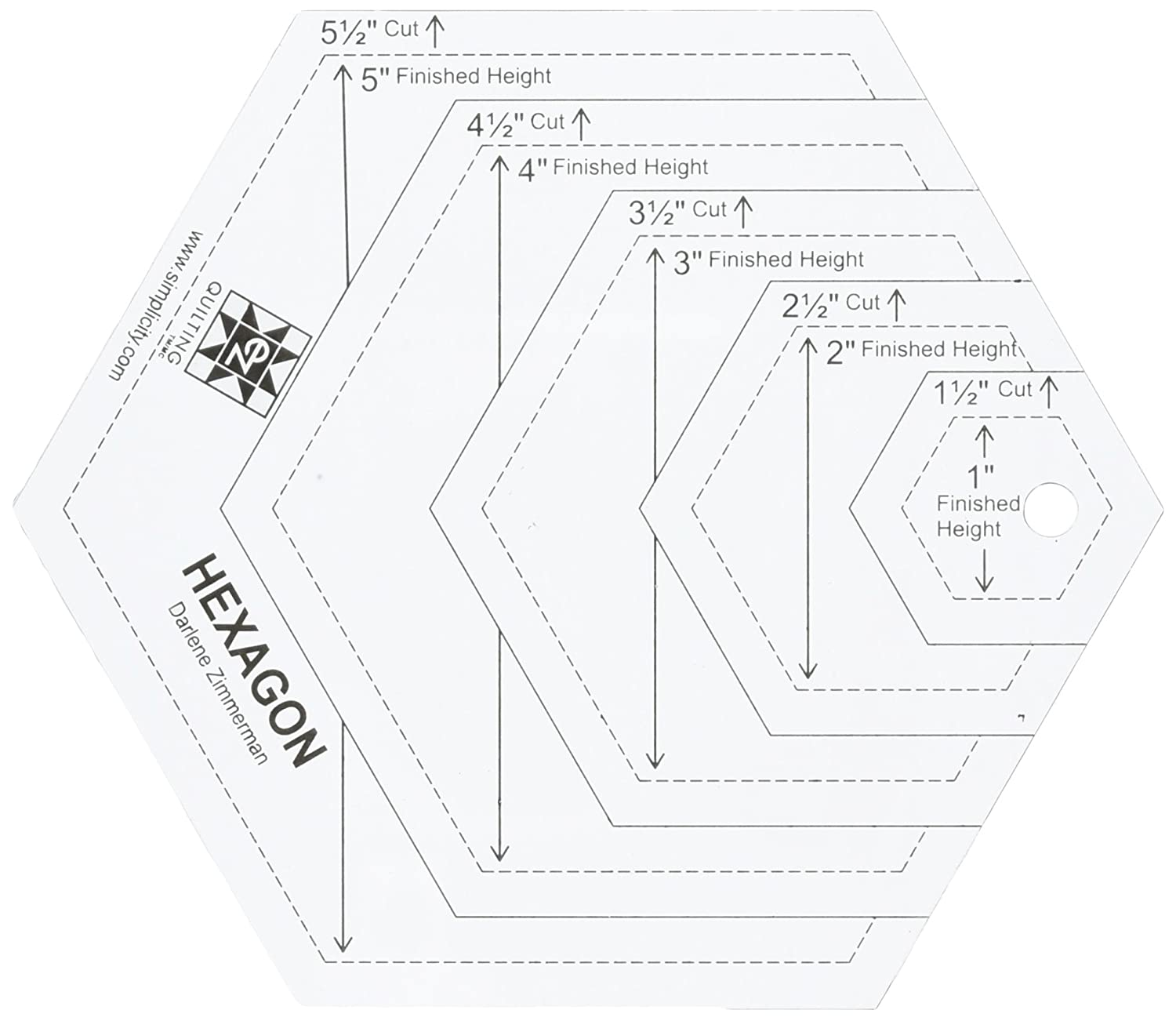Ez Quilting 882670181a Hexagon Shapes Acrylic Template White