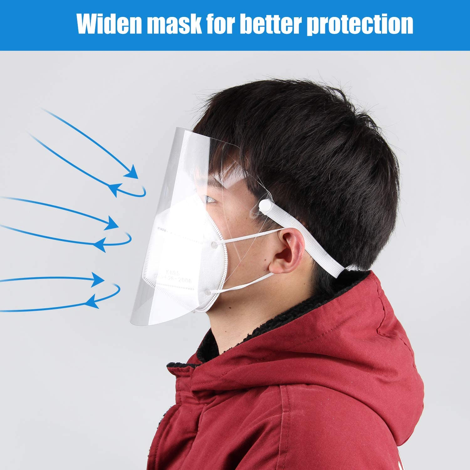 Protective Face Shield 5 Pcs Reusable Safety Full Face Shields Plastic Clear Protection Visor Anti-Spitting Film Super Light Facial Cover für Women Männer & Kids