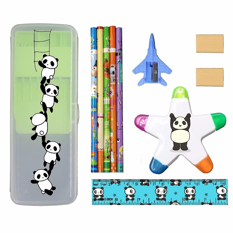 XheHe Stationery Set with Plastic Pencil Case Pen Box, Eraser, Highlighter, Ruler, Penknife for Student-Panda