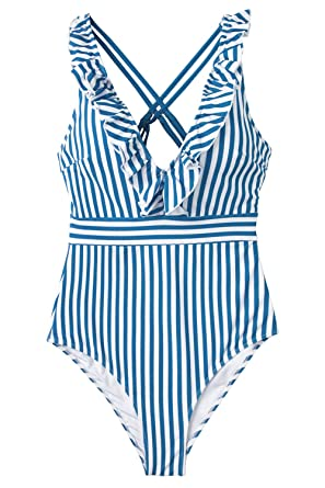 7c8dbcec2ac CUPSHE Women's Blue White Stripe Ruffled One Piece Swimsuit at Amazon  Women's Clothing store
