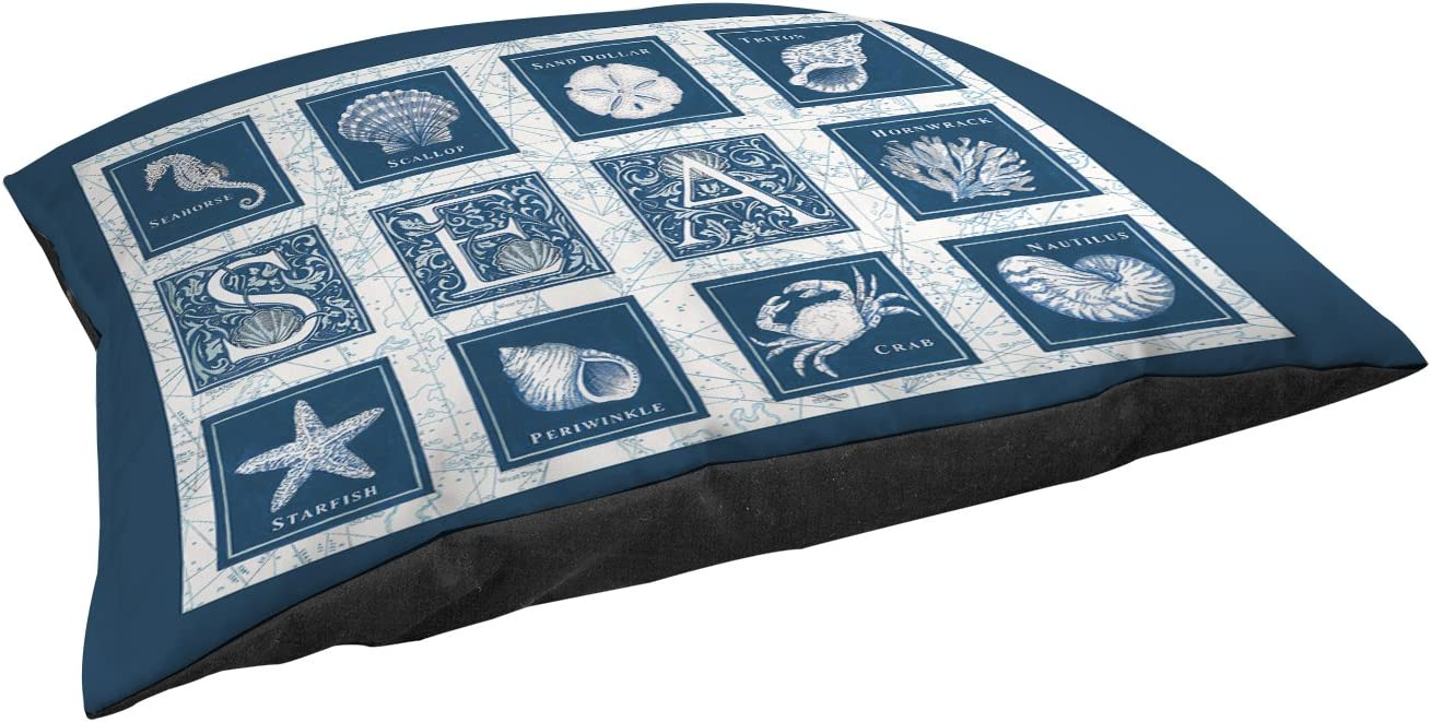 Manual Woodworkers Weavers Indoor Outdoor Small Breed Pet Bed, Sea Scapes Sea Tiles, Blue