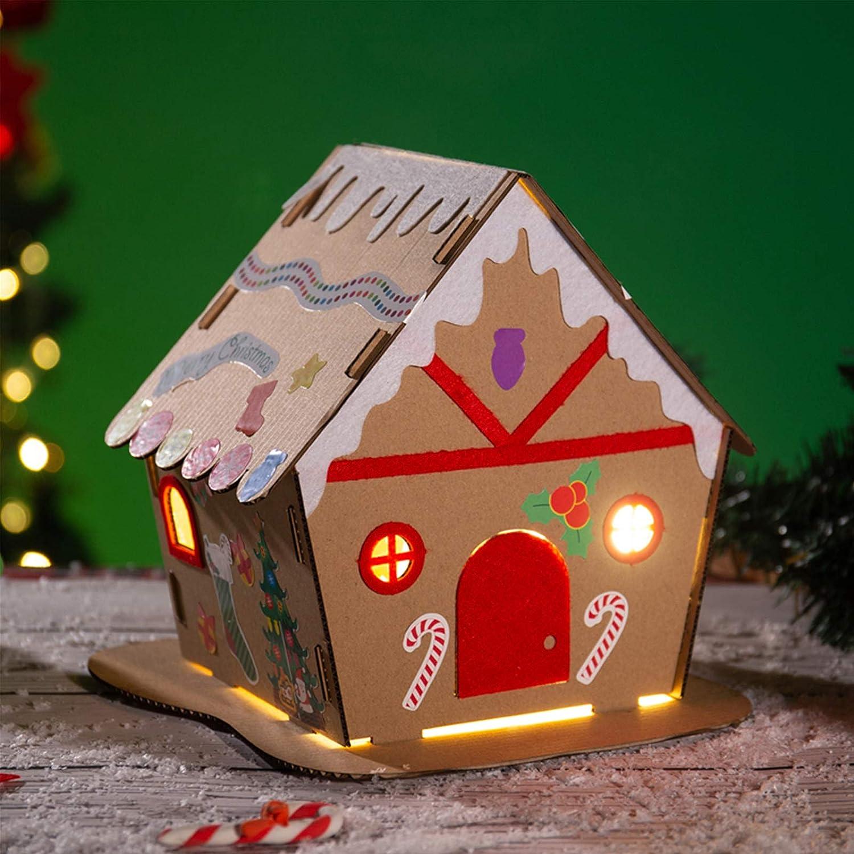 Lebkuchenhaus zum selbermachen mit Weihnachtsaufkleber HOWAF Packung mit 3 Lebkuchenhaus Set Kreative DIY Weihnachts bastelset und Dekoration f/ür Kinder