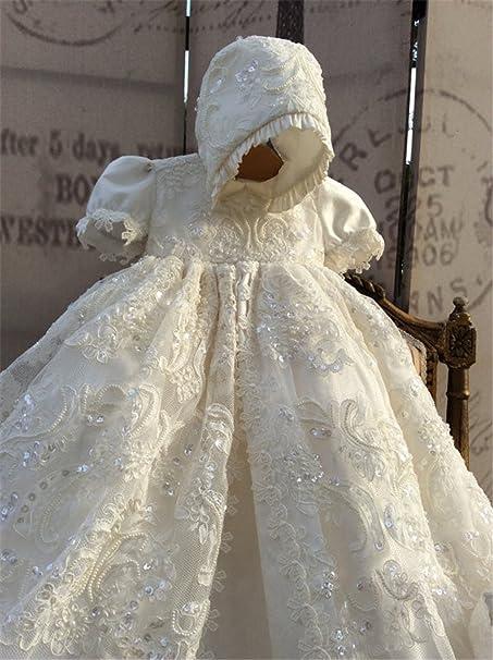 cb5d7f55f dressvip Blanco en Encaje Vestido de Bautizo con Gorro Assorti para bebé  Blanco 3-6 Meses  Amazon.es  Ropa y accesorios