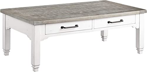 Artum Hill Coffee Two Drawers, Plank-Style Top, and Turned Legs Living-Room-Table-Sets, Distressed White