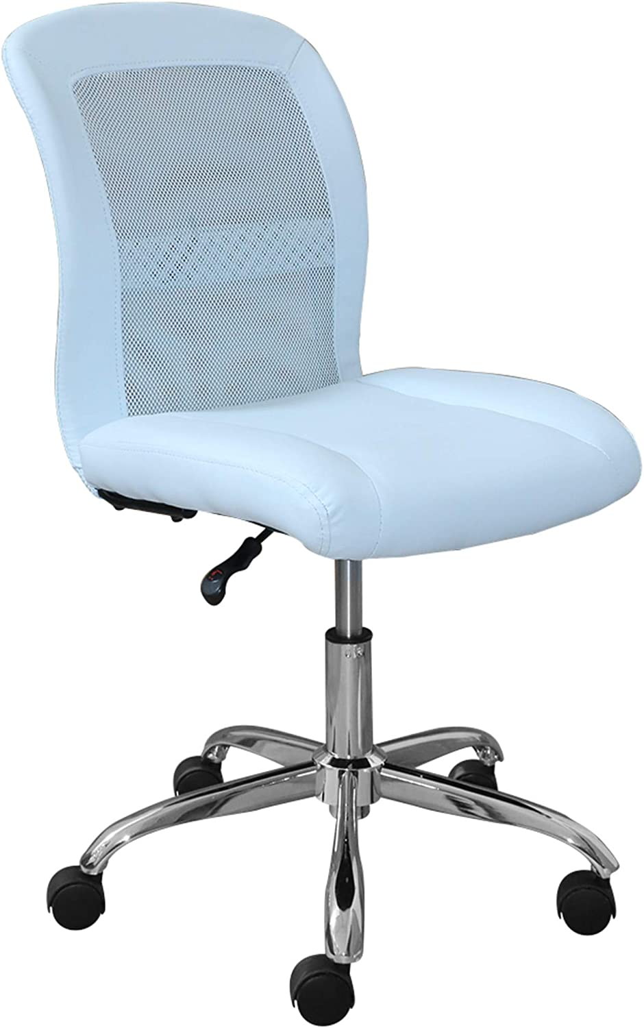 Serta Essentials Ergonomic Armless Low-Back Computer Swivel Task Chair, Faux Leather and Mesh, Blue