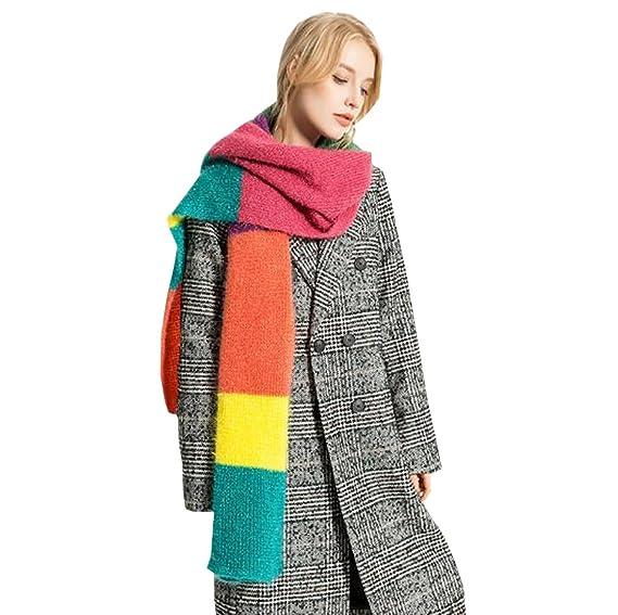 ACVIP Femme Écharpe Couleur Arc-en-ciel Châle Foulard Cape Rayure Automne  Hiver (Multicolore)  Amazon.fr  Vêtements et accessoires 2d4852ddc88