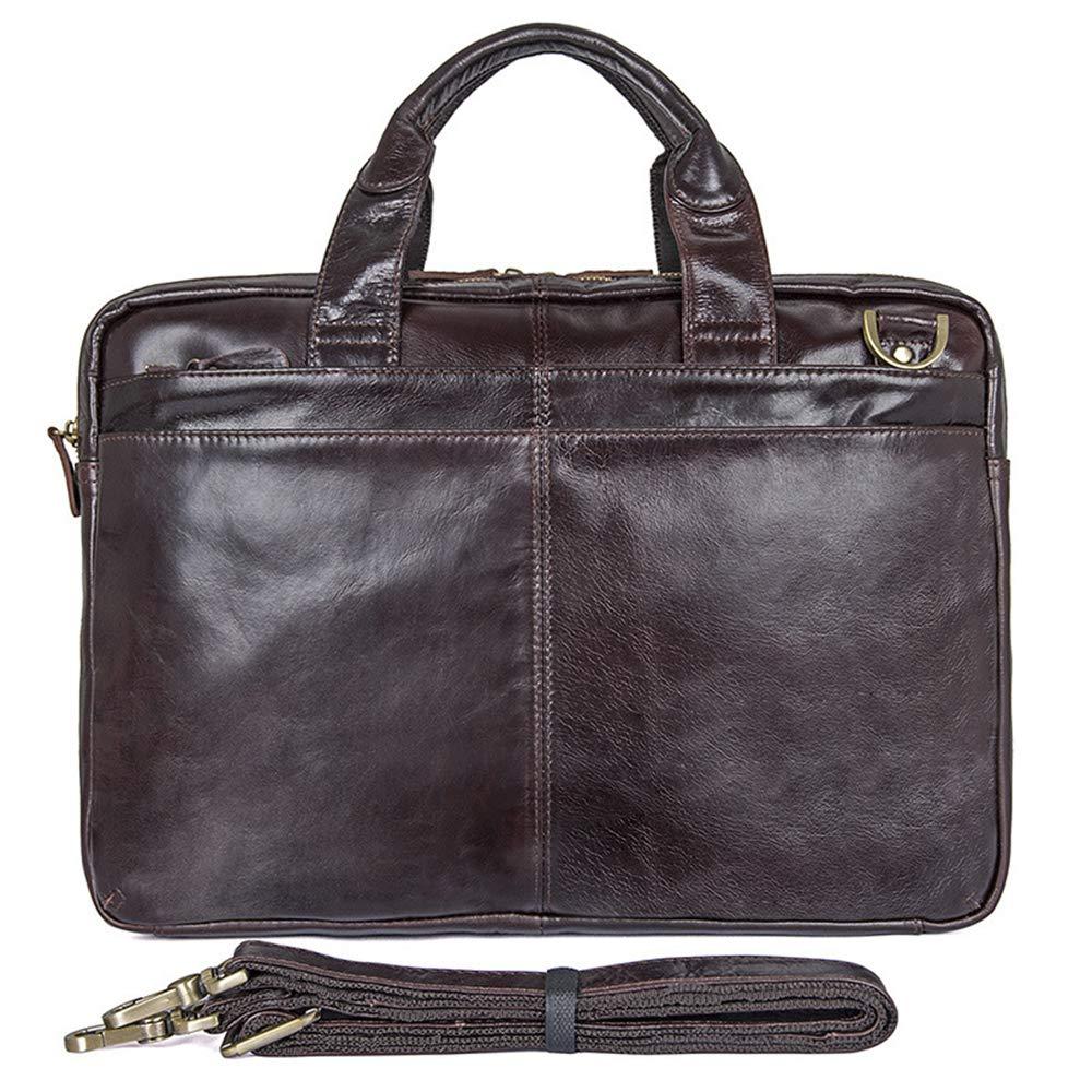 ビジネスバッグファッションメンズ本物の革のハンドバッグ大容量レトロコンピュータバッグ15インチ 463e13132d16f