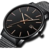Mens Stainless Steel Mesh Bracelet Watches Men Luxury Waterproof Date Calendar Simple Classic Design Thin Wrist Watch Gents Business Casual Dress Analogue Quartz Watches with Black Dial