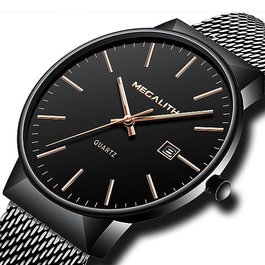 5779d88d369b Montre Homme Acier Inoxydable Montre Bracelet à Quartz Analogique Etanche  Luxe Mode Date Calendrier Design Simple