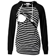 Women's Nursing Hoodie Sweatshirt Raglan Long Sleeves Casual Maternity Top Breastfeeding Clothes Black White Striped XL