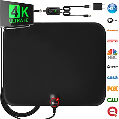 [Newest 2019] Amplified HD Digital TV Antenna Long 60-120 Miles Range –  Support 4K 1080p and All Older TV's Indoor Powerful HDTV Amplifier Signal