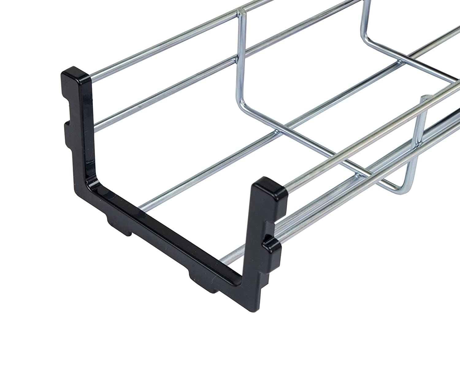 Supporto cavi Cover /& End cap 3 Pack of 140cm Long Under Desk Basket Cable Tray Galvanized Steel Mesh Cord Management Rack w// Mounting Bracket