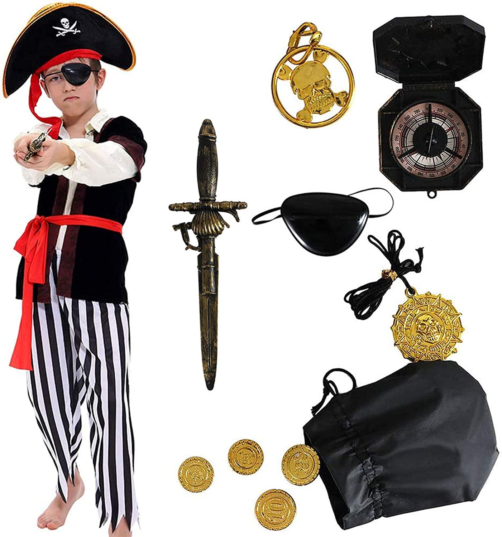 Tacobear Disfraz de Pirata Niño con Accesorios Pirata Parche Daga brújula Monedero Pendiente Oro Medasie Disfraz de Halloween Pirata Niños (S 4-6 años)