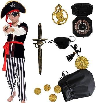 Tacobear Disfraz de Pirata Niño con Accesorios Pirata Parche Daga ...