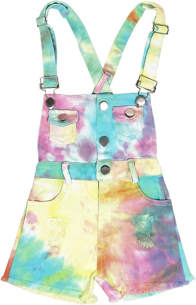 1980s Clothing, Fashion | 80s Style Clothes 3-8T Little&Big Kids Girls Jumpsuit&Rompers Bib Overalls Colorful Tie-dye Shortalls Suspender Shorts Jeans Pants $19.99 AT vintagedancer.com