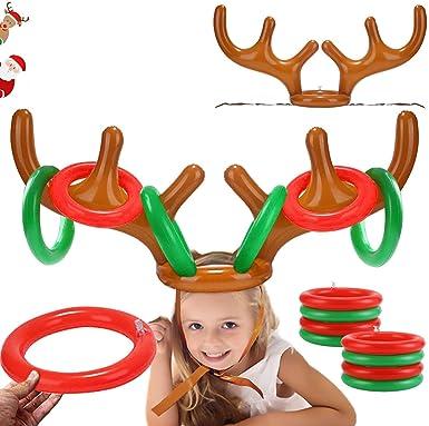 Fiesta de Navidad Divertidos Juegos Lanzamiento de Anillo Reno,2 Navidad Juego de Astas de Reno Inflable Inflable Reno Sombrero de asta de Navidad,paraFamilia,Ni/ños Oficina