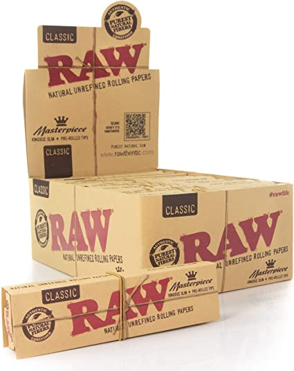 Box Rolling Papers Raw Classic King Size Slim 50 Packs//32 Per Pack