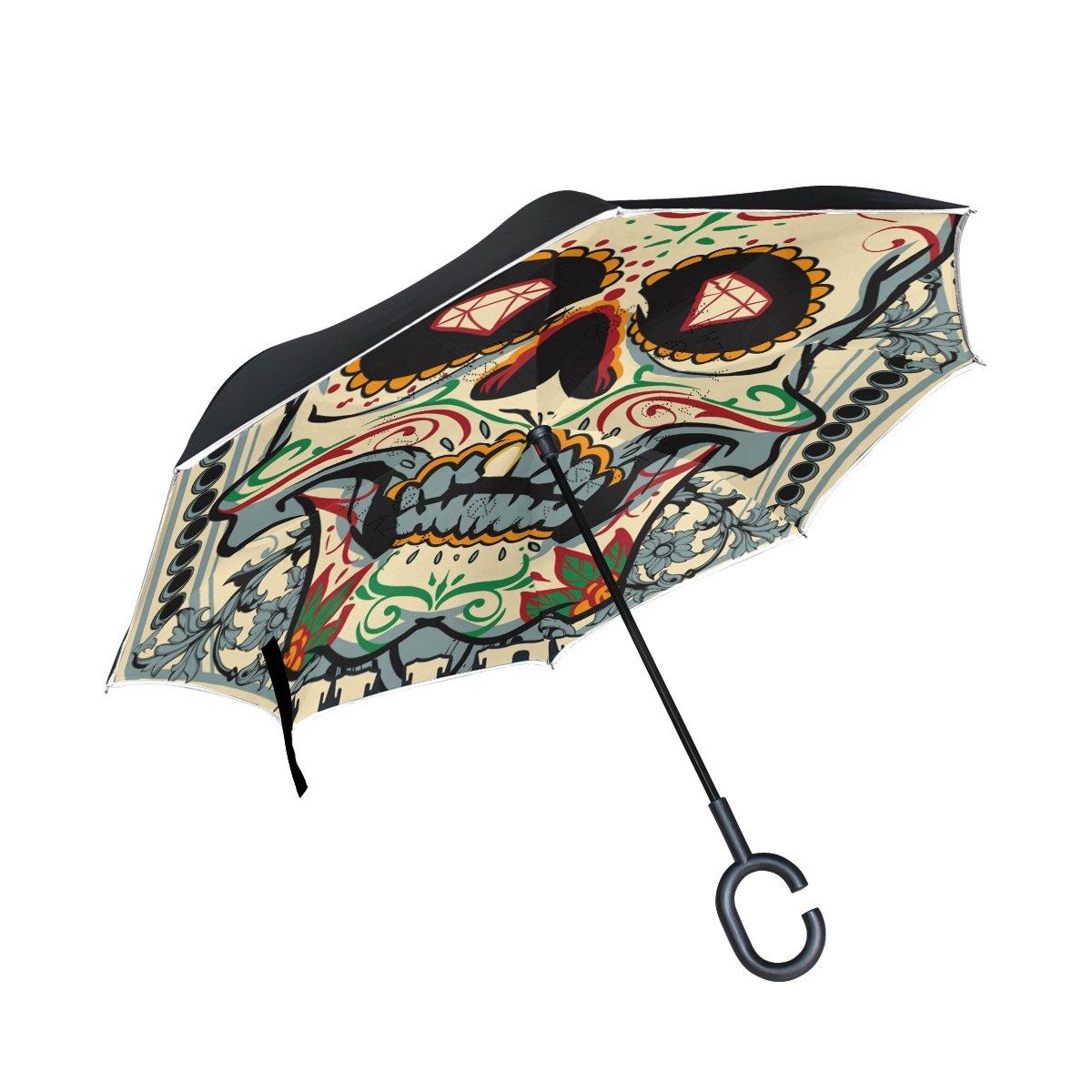 bd1789908a1d5 Sugar Skull Dia De Los Muertos Inverted Umbrella Double Layer Windproof,  Waterproof Auto Open Reverse