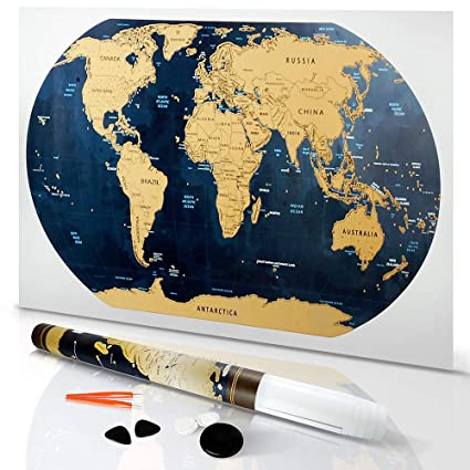 JACS Scratch Off Map of The World Poster with Detailed United States -  Includes Travel Tube and Scratchable Accessories - 32 x 17 5 in
