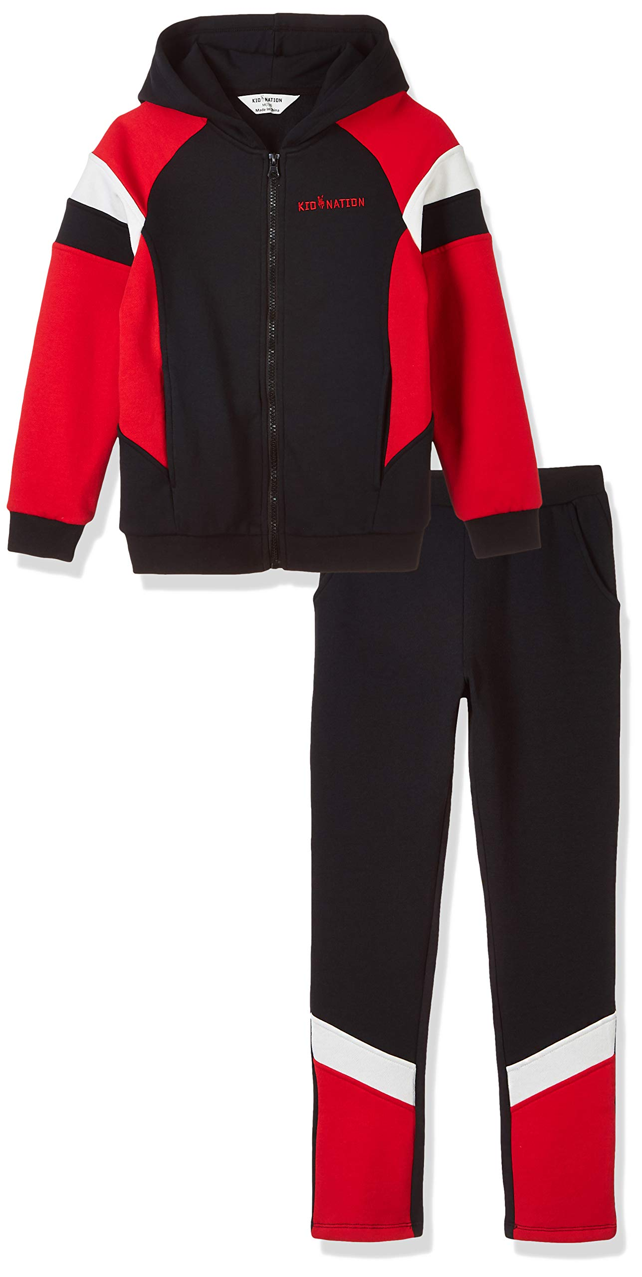 Kid Nation Kids' Sport Hooded Jacket Pants Set for Boys and Girls Black/Red/White S by Kid Nation