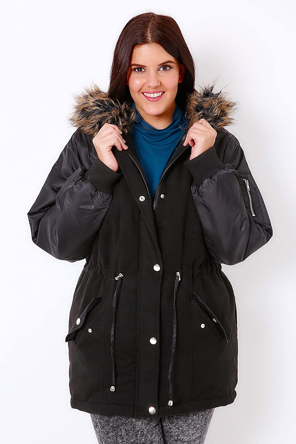 Yoursclothing Plus Size Womens Parka With Bomber Style Sleeves & Faux Fur Hood