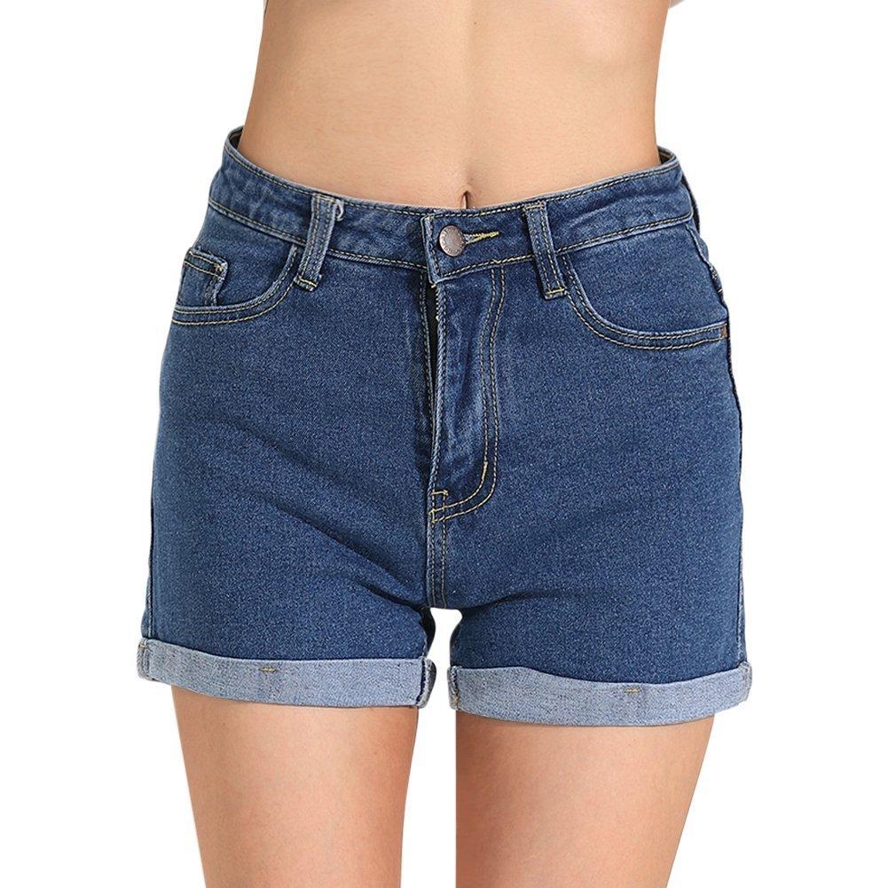 Hocaies Juniors Vintage Fit Mid-Rise Body Enhancing Denim Shorts (Blue, 6)