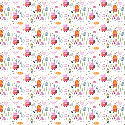 Peppa Pig Fabric Happy Forest in White Fabric by the Yard