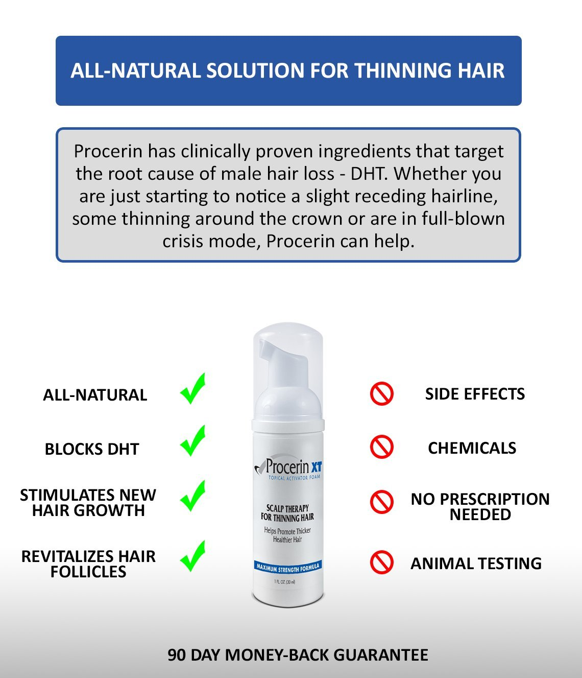 Procerin XT Foam Hair Loss Foam Product (No Minoxidil) - Clinically Proven to Combat Baldness & Thinning Hair by Procerin (Image #4)