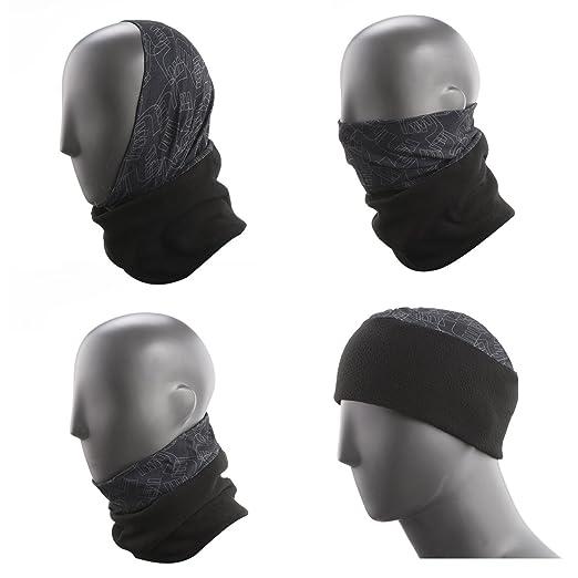 5253b4042 Topnaca Men Women Fleece Neck Warmer Gaiter Face Mask Hood Snood Beanie  Scarf