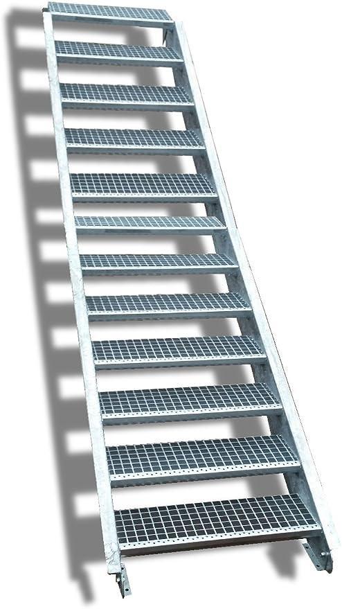 12 Escalera de acero Escaleras/Nivel Planta ancho 60 cm/Altura 180 – 240 cm/Incluye Extremos de escaleras de U de perfil + Rejilla de escaleras + Tornillos, Tuercas/mejilla Escaleras exterior Escalera industrial peldaños (: