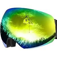 Maschera da Sci OMorc, Occhiali da Sci Ski Snowboard Antivento Anti Fog UV 400 Protezione con Staccabile Grandangolare Lenti Goggles Ampio Angolo di Visione