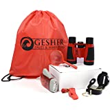 Gesher Outdoor Exploration Kit: Children's Toy Binoculars, Flashlight, Compass, Magnifying Glass, Whistle, and Backpack, 6-Piece Educational Kid's Set
