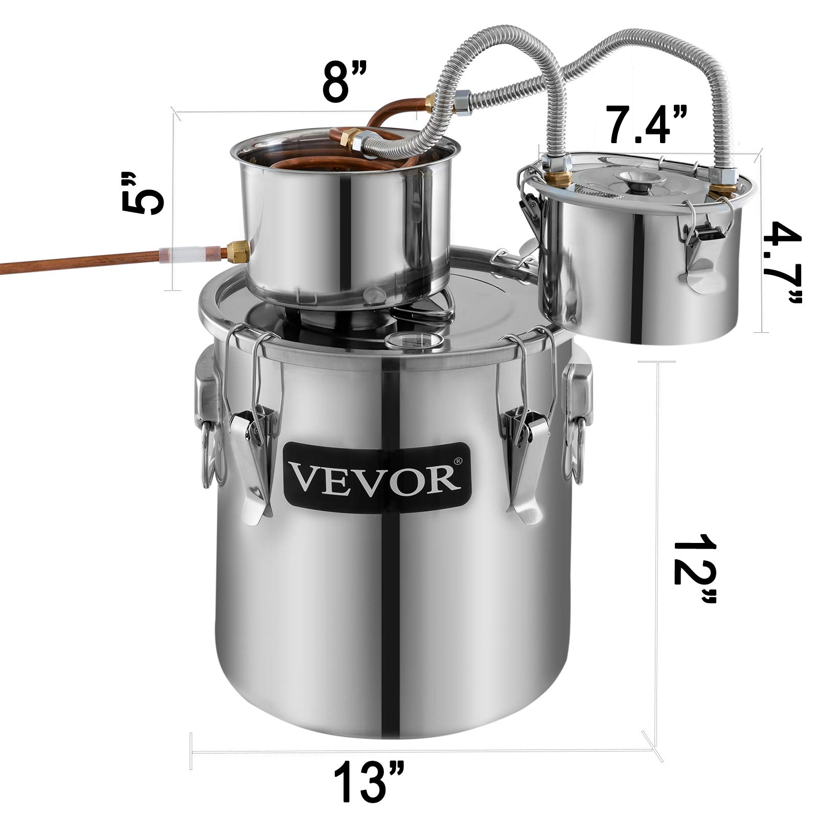 VEVOR Moonshine Still 5 Gal 21L Stainless Steel Water Alcohol Distiller Copper Tube Home Brewing Kit Build-in Thermometer for DIY Whisky Wine Brandy, 3 pots by VEVOR (Image #2)