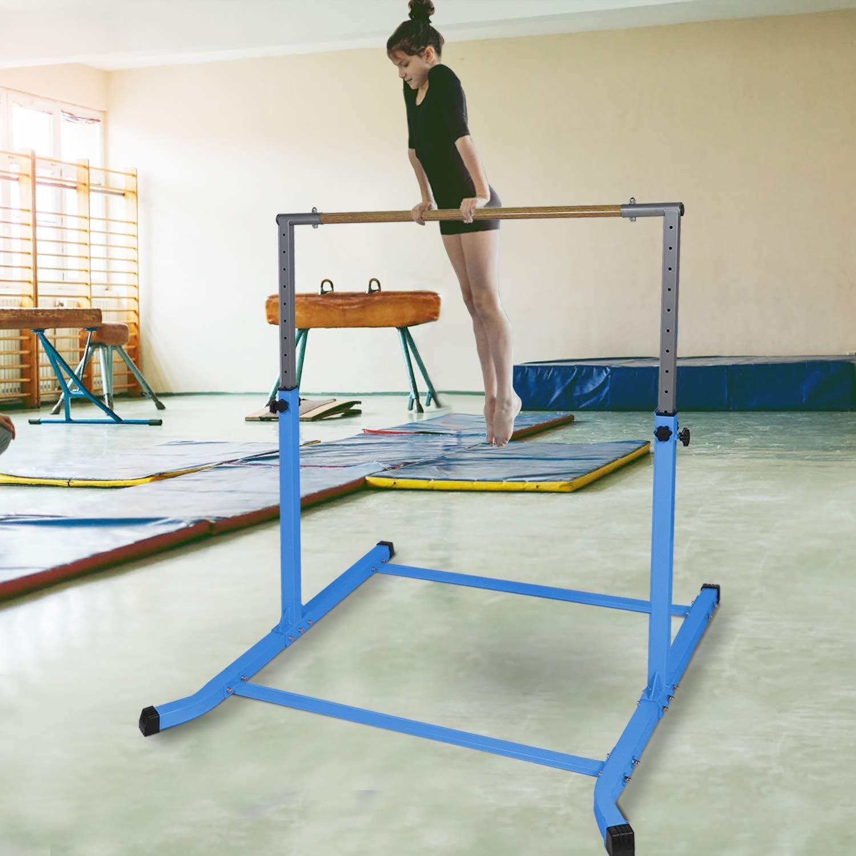 Gymbarpro Gymnastics Training Bar for Kids Gymnastic Horizontal Kip Bars Selectable Height Adjustable for Home