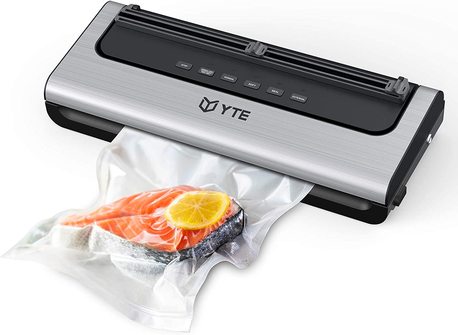 YTE Vacuum Sealer Machine, Automatic Food Saver with Dry & Moist Food Modes, Easy to Clean, Portable Vacuum Sealing Machine with Cutter & 10 Vacuum Bags