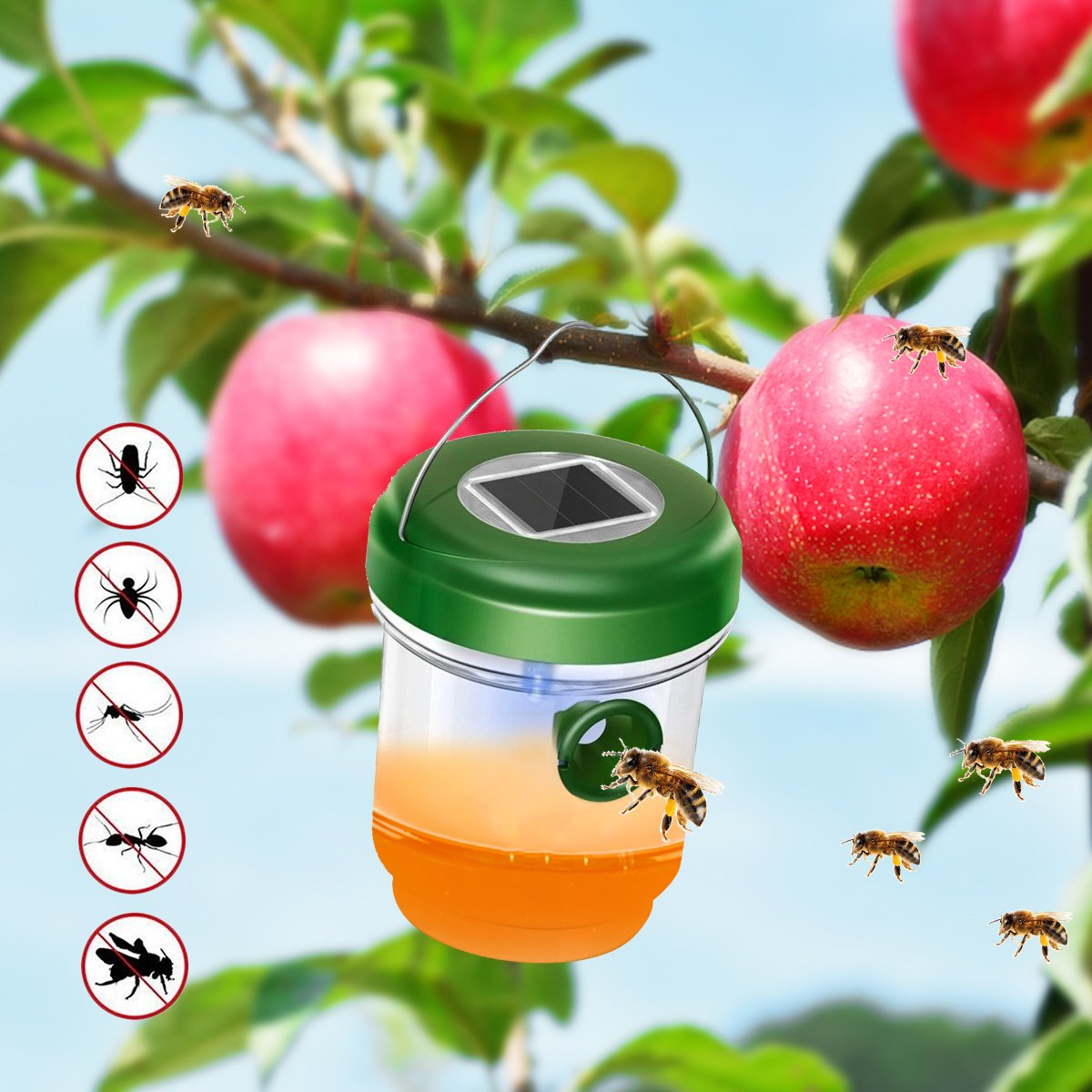 DAPRIL Wasp Trap Catcher, Life Outdoor Solar Powered Ultraviolet LED Light - Perfect for Wasps Bees Yellow Jackets Hornets Bugs Fly and More (Green) (advanced)