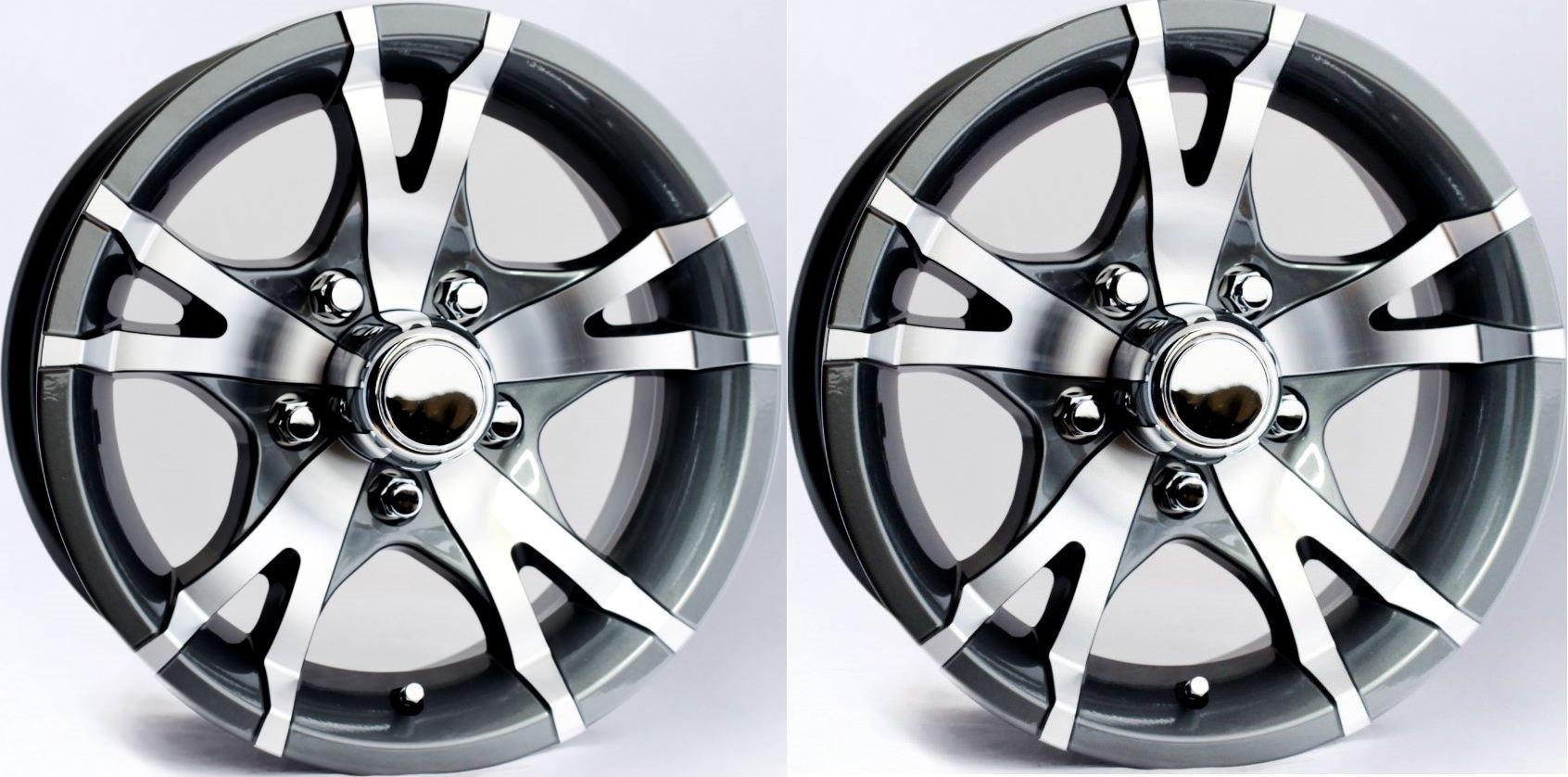 TWO (2) Aluminum Sendel Trailer Rims Wheels 5 Lug 14'' T07 V-Spoke Gray/Style