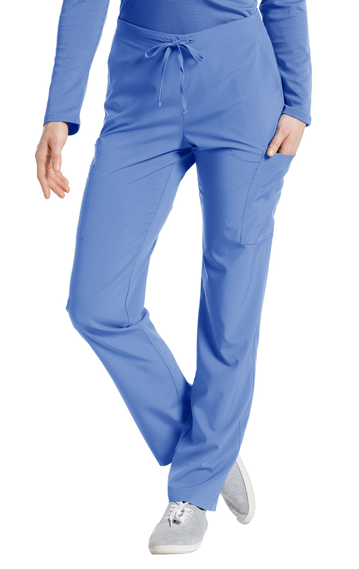 Fit by White Cross Women's 397 Drawstring/Back Elastic Waist Cargo Pant- Ciel Blue- Small