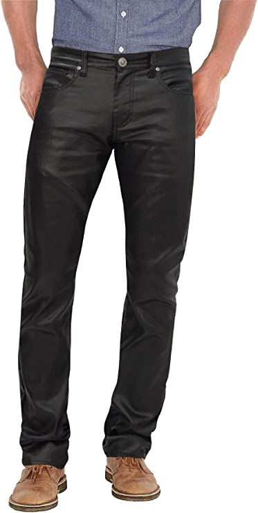 Men's Vintage Pants, Trousers, Jeans, Overalls Agile Mens Slim Fit Stretch Fashion Casual Faux Leather Pants $29.99 AT vintagedancer.com