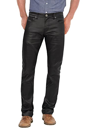 Agile Mens Slim Fit Stretch Fashion Casual Faux Leather Pants At