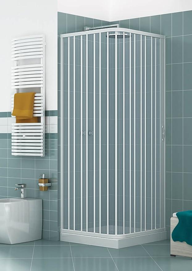 GRANISUD Mampara Ducha Angular Extensible en PVC, Apertura Lateral, una Hoja - 70 x 70 cm, Altura 185 cm, Blanco: Amazon.es: Hogar