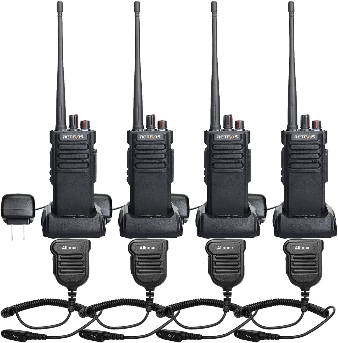 Retevis RT29 2 Way Radios Long Range UHF Radios 3200mAh 16 CH VOX Encryption Heavy Duty High Power Walkie Talkies with Waterproof Speak Mic (4 Pack)