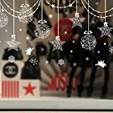 """SWORNA Holiday Series SN-64 Merry Christmas Ball Star Snowflakes Decoration Removable Vinyl Wall Window Door Mural Decal Sticker Retail Store/Coffee House/Restaurant/Supermarket/Dress Shop 30""""H X 63""""W"""